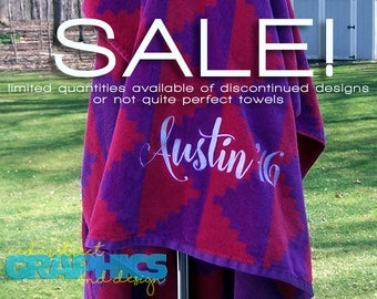 EXCELLENT VALUE! Extra large Personalized Beach towel - Embroidered Beach Towel - Not-Quite-Perfect Beach towels