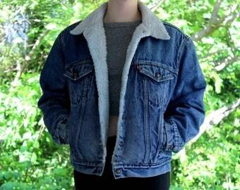 90s Levi Sherpa Denim Jacket Medium Wash Levis Sherpa Coat Levi San Francisco