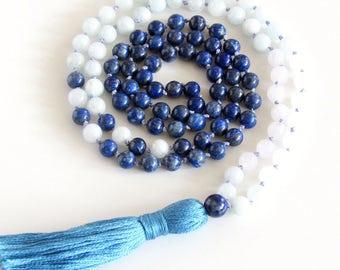 Lapis Lazuli Mala Necklace 108 Mala Lapis Lazuli Aquamarine and Moonstone Mala Necklace Yoga Necklace Meditation Necklace Boho Necklace Gift