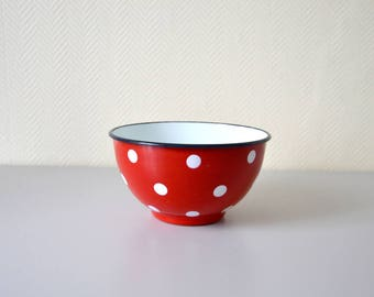 Red vintage salad bowl with white polka dots / enameled bowl