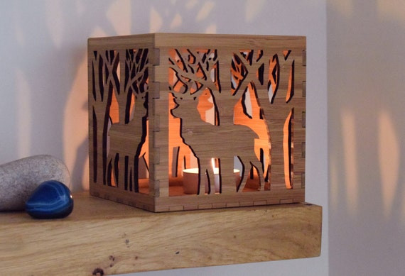 Stag Candle Holder, Wooden Tea Light Lantern, Table Decor, Votive Tealight  Holder,