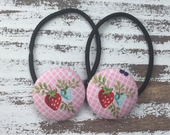 Strawberry Ponytail Holder – Strawberry Picking Hair Tie - Summer Hair Elastic - Kawaii Strawberry Hair Clip – Fruit Hair Accessory