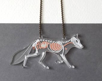 Creepy X Ray Skeleton Fox Anatomical Necklace - Macabre Spooky Undead Anatomy Halloween Jewellery - Gifts for Vets - Witchy Jewelry