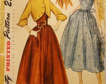 Vintage Simplicity Pattern 1950's Full Skirt Dress and Shaped Bolero Jacket * 32 Bust