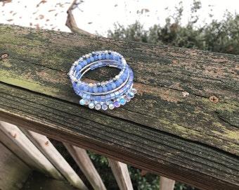 Mermaid bracelet, mermaid jewelry, mermaid gift, wrap bracelet, opalescent beads, cuff bracelet, boho bracelet, blue bracelet
