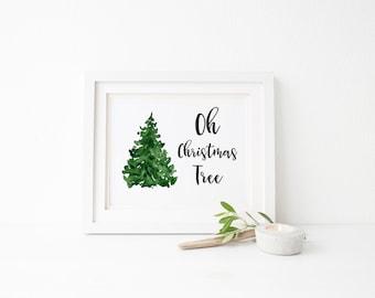 Oh Christmas Tree Print, Christmas Print, Christmas Digital Print, Christmas Tree Printable, Digital Download, Christmas Carol Print