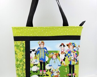 Whimsical Tote Bag, Farm Tote Bag, Country Tote, Funny Farm Tote, Cow Purse