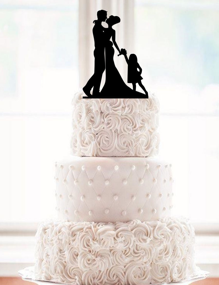 wedding cake toppers bride groom daughter and groom silhouette wedding cake topper with a 26425