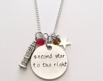 Second Star to the Right Tinkerbell Peter Pan Disney Inspired Neverland Hand Stamped Charm Necklace
