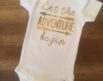 Let The Adventure Begin Onesie// Announcement Onesie// Newborn Onesie