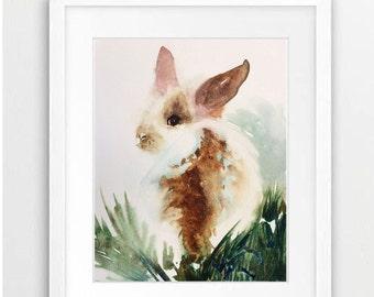 Bunny, Rabbit, Watercolor Rabbit, Rabbit Art, Watercolor Bunnies, Nursery Art, Baby Shower Gift, girl's room art, Children's Art