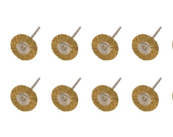 """Pack of 12 - 1"""" Crimped Brass Wire Bristle Rotary Brush Set w/ 3/32"""" Mandrel for Jewelry Cleaning Polishing Metal Finishing - BRS-470.00"""