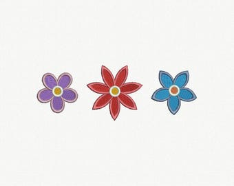 Mini Flowers Machine Embroidery Design - 3 Designs by 3 Sizes