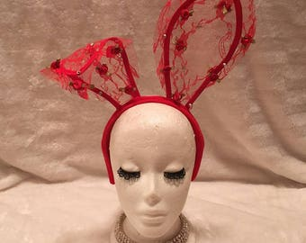 Red Lace Bunny Ears with Crystals and Red Flowers. Burlesque Cabaret Vintage Costume Accessory