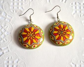 geometric jewelry Yellow green earrings for her geometric jewelry Rainbow Earrings colorful earrings statement earrings gift for girlfriend