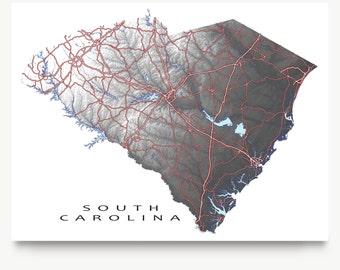 South Carolina State Map Art Print, SC State Maps, Black and White