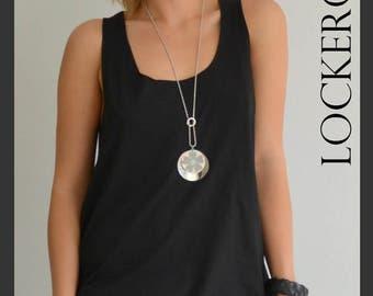 Woman black top/ Loose tank top / Open back tunic / Loose casual top