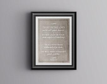 Scripture Art - Proverbs 3:5-6 - 8 x 10 Printable - Digital Download