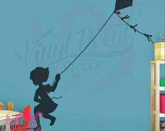 Girl flying Kite Wall Decal, Girl Wall Decal, Nursery Wall Decal, Nursery Decor, Baby Wall Decor, Baby Room Decal, Kite Flying Decal, Room