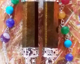 2 Large TIGER EYE Crystal Dowsing PENDULUM Divination Wands, with Tiger Eye Point, Chakra Chain and 2 Storage Pouches