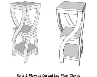 Plywood Curved Leg Plant Stand  - Wood Plan - PDF File - Blueprint