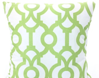 Green Decorative Throw Pillow Covers, Cushion Covers, Kiwi Green Geometric Pillows, Couch Pillows, Lyon, Throw Pillow, One or More All Sizes