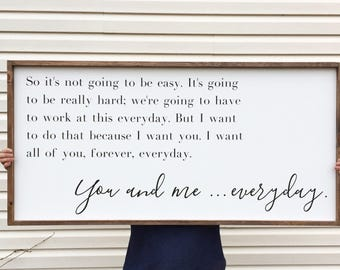 Large Above Bed Sign, You And Me Everyday Framed Wood Sign, The Notebook Home Decor, Movie Quote Custom Wall Art, Love Sayings
