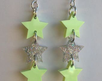 LASERCUT STAR acrylic earrings- silver GLITTER and pistachio green