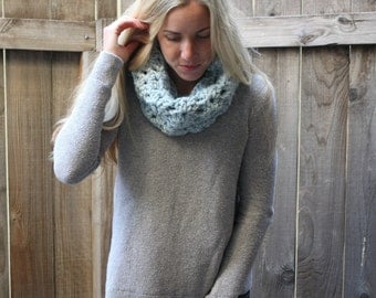 Crochet Lacey Cowl/Light Blue