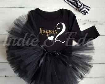 2nd Birthday Tutu Two Girls black personalised gold set headband photo prop cake smash