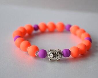 Fluro Orange Purple Buddha Bracelet - Orange and Purple Buddhist Bracelet - Protection Bracelet - Stretchy Buddha Bracelet - Yoga Bracelet