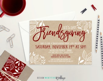 Friendsgiving Party Invitation // 5x7 // Fall-Inspired  // Custom Invitation // Thanksgiving Dinner Party // Friendsgiving Dinner
