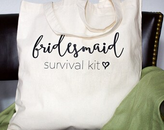 Bridesmaid Survival Kit Tote Bag | Bridesmaid Tote Bag | Bridesmaid Kit | Bridesmaid Proposal | Be My Bridesmaid | Wedding Day Survival Kit