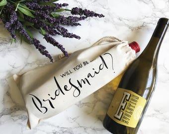 Will You Be My Bridesmaid Wine Bag | Be My Maid of Honor | Bridesmaid Proposal | Ask Bridesmaid Gift | Asking Maid of Honor | Wine Gift Bag