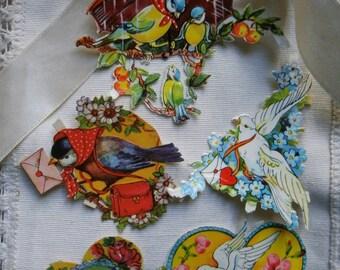 Vintage die cut .Original die cut,Germany.Vintage paper.Scrapbook.Craft supply.Embossed.Romantic.Vicorian.Doves.Birds.Flowers.Hearts.Love