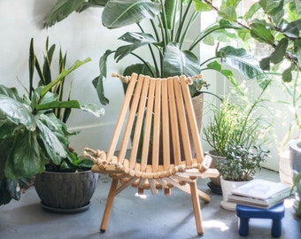 Pine Chair/ Folding Chair/Portable Chair/Decorative Chair/Porch/Patio/Furniture/Rope Folding Chair/Unique Chair/Pioneer Chair/Adirondack