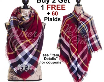Christmas red scarf, blanket scarf, for her, blanket scarf monogram, plaid scarf, oversized ...