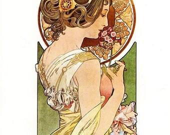 """Alphonse MUCHA 1976 Authentic Vintage Art Nouveau PRINT """"Primevere"""""""