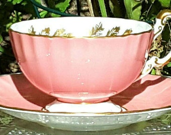 Beautiful Aynsley Ribbed Footed Teacup and Saucer