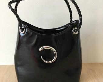Vintage CARTIER Panthere Black Patent Leather Shoulder Bag France | Amazing 1960-70 Cartier bag