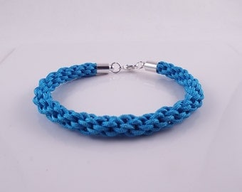 Cera (Light blue cord hand braided kumihimo bracelet w/ silver plate findings)