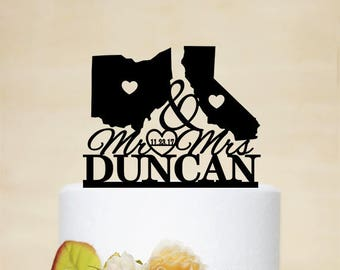 States Wedding Cake topper,Mr & Mrs Cake Topper,Last Name Cake Topper,Map Cake Topper,USA States wedding Theme,Personalized Cake Topper C202