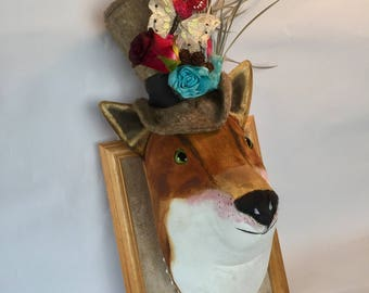 Textile dandy fox faux taxidermy