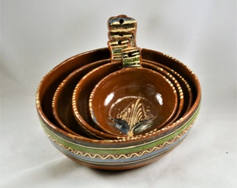 Redware Nesting Bowls - Mexico Tlaqupaque Pottery - Vintage 1950s Terra Cotta - Tab Handles - Rustic Kitchen