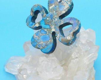Blue Sea Sediment Jasper Clover Pendant.
