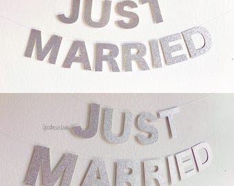 Just married banner | Etsy