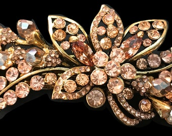New Gold  With Topaz Amber Floral Crystal 3'' Hair Barrette