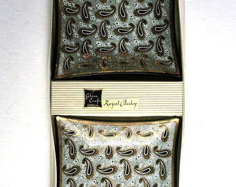 Vintage Mid Century Modern Set of 2 Royal Paisley -Glass Craft Original-Large Ashtrays In Original Box-Candy-Nut Dish-Glass Trays-Black-Gold