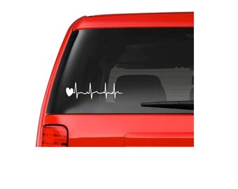 EKG car decal, Ekg and heart car decal, vinyl car decal, Car decal, Nursing Car decal, Nursing and heart decal, waterproof decal,
