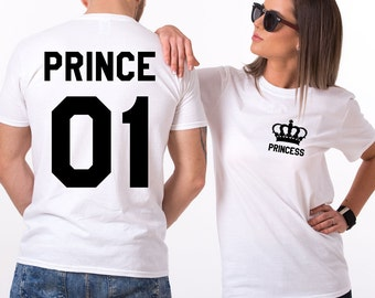Prince and Princess shirts with Crowns, Prince 01, Princess 01 Couples T-shirt Set, Prince Princess shirts, 100% cotton Tee, UNISEX